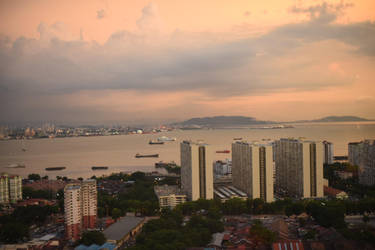 Sunset View of Georgetown Penang by nosugarjustanger