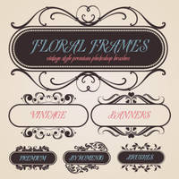 Floral Banners Brush Set by Romenig