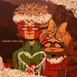 Countryhumans: Canada x Fem Cuba ~ by Ariyamidai