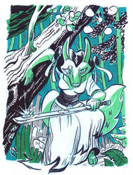 Inktober 18 - Valdana Tyron by LeavingCrow