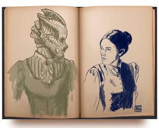 Sketch: DW Madame Vastra + Jenny by jeminabox