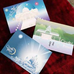 Moon Kingdom travel postcards by readyplayerzero
