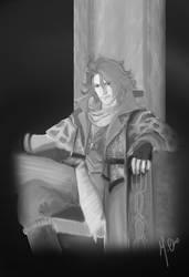 Ardyn on the throne by ChoMaetel