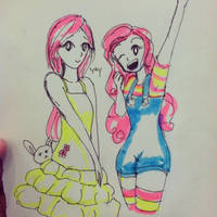 Pinkie Pie and Fluttershy by MoraSanders