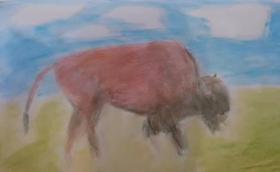 Watercolor buffalo by lechindianer