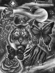 Tiger with rose and butterfly by SyberDeath