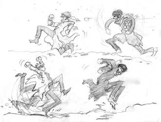 Trigun snowball fight by infiniteviking