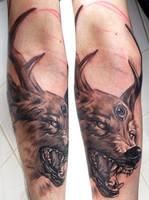 wolf with deer horns by bhbettie