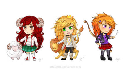 Fire chibis. (portfolio piece) by ArtelleArt