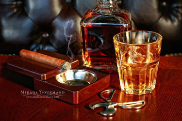 Whiskey and cigar by MirageGourmand
