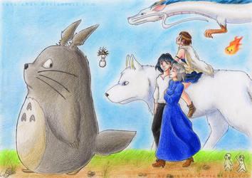 Ghibli Tribute and birthday present by susu-chan