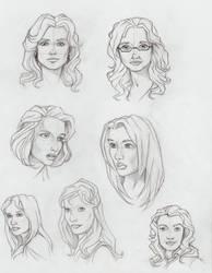 Sci-fi female head sketches by aliceazzo