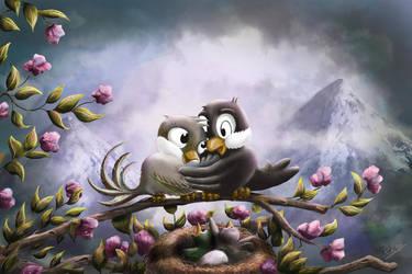 Birds in love by noahboapoa
