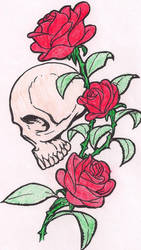 Skull and Roses by DemonaHeartBreak