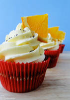 Orange and Poppy Seed Cupcakes by cakecrumbs