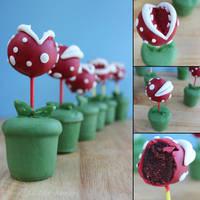 Piranha Plant Pops by cakecrumbs