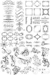 65 Free Floral Vector Ornaments Pack by 123freevectors