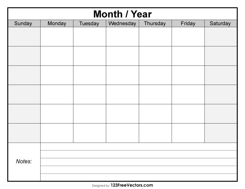 Blank Monthly Calendar Template Free Vector By 123freevectors On