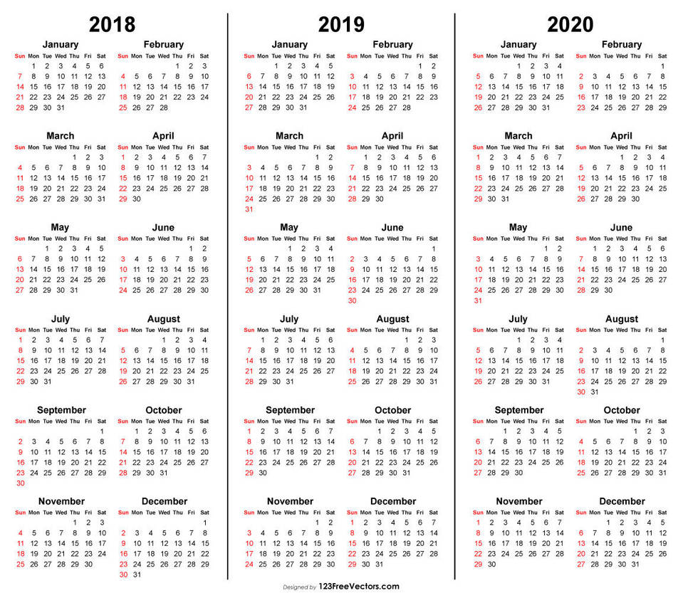 3 Year Calendar 2018 2019 2020 Printable Free Pdf By 123freevectors