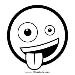 Zany Face Emoji Outline Free Vector by 123freevectors