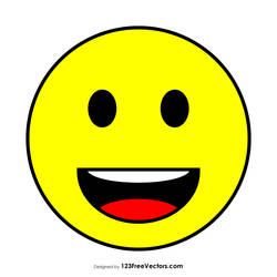 Flat Grinning Face Emoji Free Vector by 123freevectors