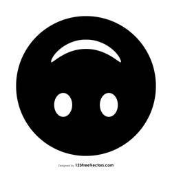 Black Upside-Down Face Emoji Free Vector by 123freevectors