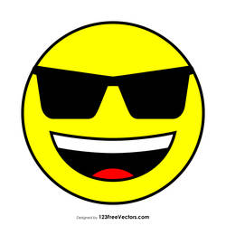 Flat Smiling Face with Sunglasses Emoji Free Image by 123freevectors