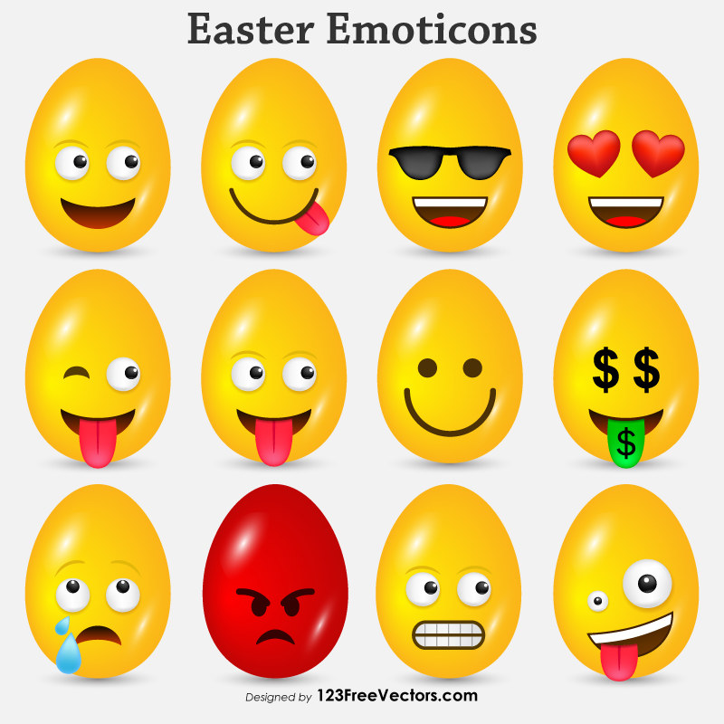 Easter Emoticons Free Vector by 123freevectors
