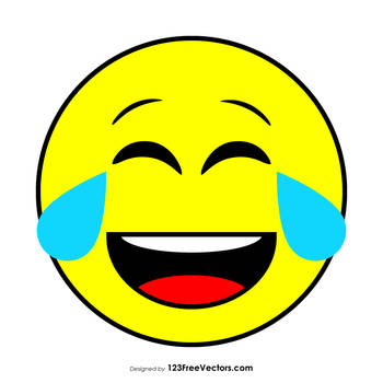 Flat Face with Tears of Joy Emoji Free Vector by 123freevectors