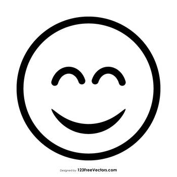 Grinning Face with Smiling Eyes Emoji Outline Free by 123freevectors