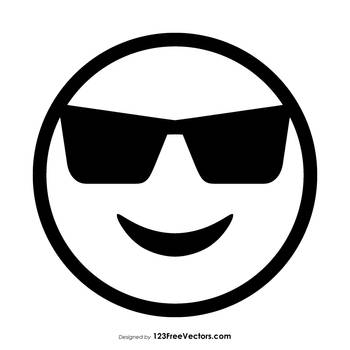 Smiling Face with Sunglasses Emoji Outline Free by 123freevectors