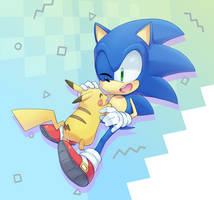 Sonic and Pikachu by bubbletea471