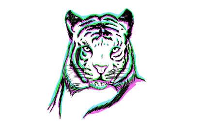Tiger vaporwave background by OverlordBambi11