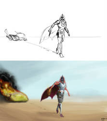 Hunter sketch vs finished work by OverlordBambi11
