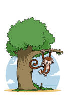 monkey on the tree by tawfi2