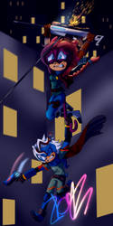 Jess and Zoel: Racing down the skyline by Zboys