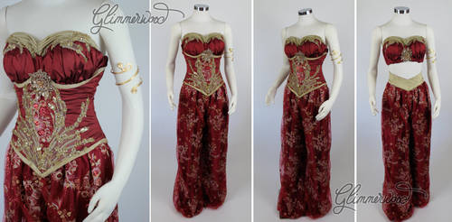 Modest Red Slave Jasmine Cosplay Costume by glimmerwood