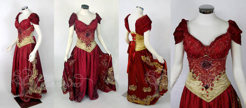 Red Slave Jasmine Designer Doll Inspired Gown by glimmerwood