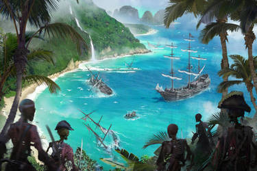 Pirates of the Undead Seas - skeleton island by 5ofnovember