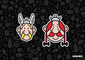 Mitesized Asterix and Obelix by Nemons
