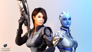 Studio Series: Ashley and Liara (The Rivalry) by LoneWolf117