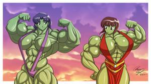 Misato Nabiki Hulk Flex-Off by LunarDiaries