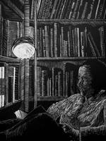 library linocut by ericvonzip