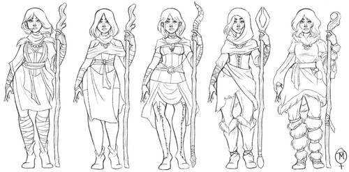 Female Mage outfit concepts by RikuxTee
