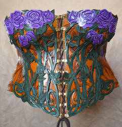 Purple Rose Leather Corset by SavagePunkStudio