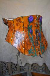 Purple Rose Leather Corset, Back by SavagePunkStudio