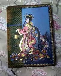 Refillable Geisha Sketchbook or Journal Cover by SkiethWebb