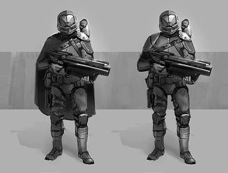Sci fi soldier sketch by Oana-D