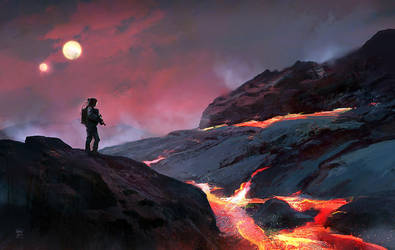 Lava planet - personal sketch by Oana-D