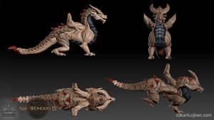 Age of Wonders 3 Golden Dragon Sculpt by OskarKuijken